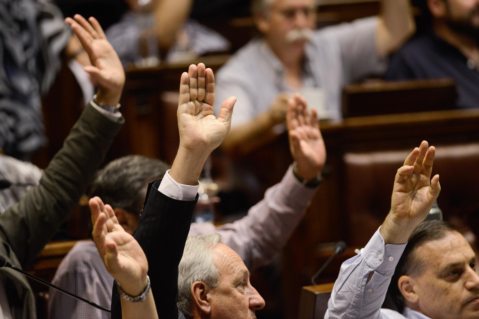 parlamentarios con manos en alto votando